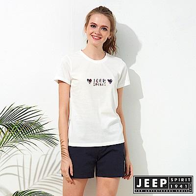 JEEP 女裝 仲夏花卉圖騰短袖TEE-白色