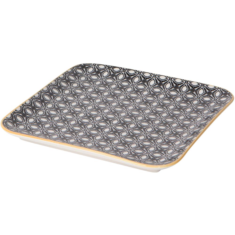 《NOW》瓷製方型平盤(花瓣黑M)