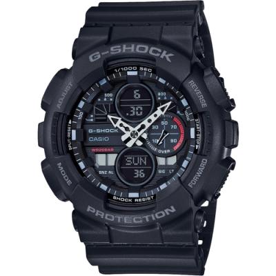 CASIO 卡西歐 G-SHOCK 90年代音響概念手錶-霧黑(GA-140-1A1)
