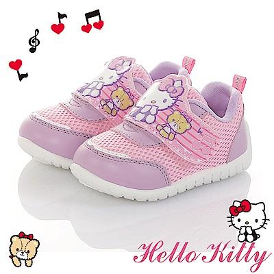 HelloKitty童鞋 音符系列 輕量減壓抗菌防臭休閒鞋-紫粉