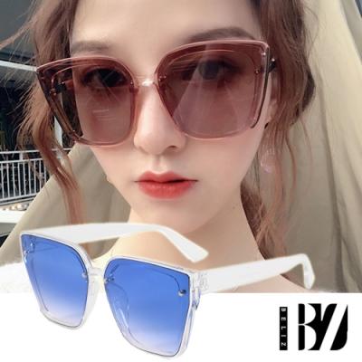 BeLiz 貓眼大方框 銀鉚釘膠框太陽墨鏡 透明藍
