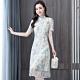 中式古典淺水藍蕾絲現代旗袍洋裝S-2XL-REKO product thumbnail 1
