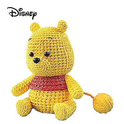 日本正版 深色版 小熊維尼 編織公仔 Winnie 公仔 模型 384796-BL
