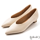 DIANA 3 cm軟羊皮尖頭素色方跟鞋-質感氛圍-牛奶米 product thumbnail 1
