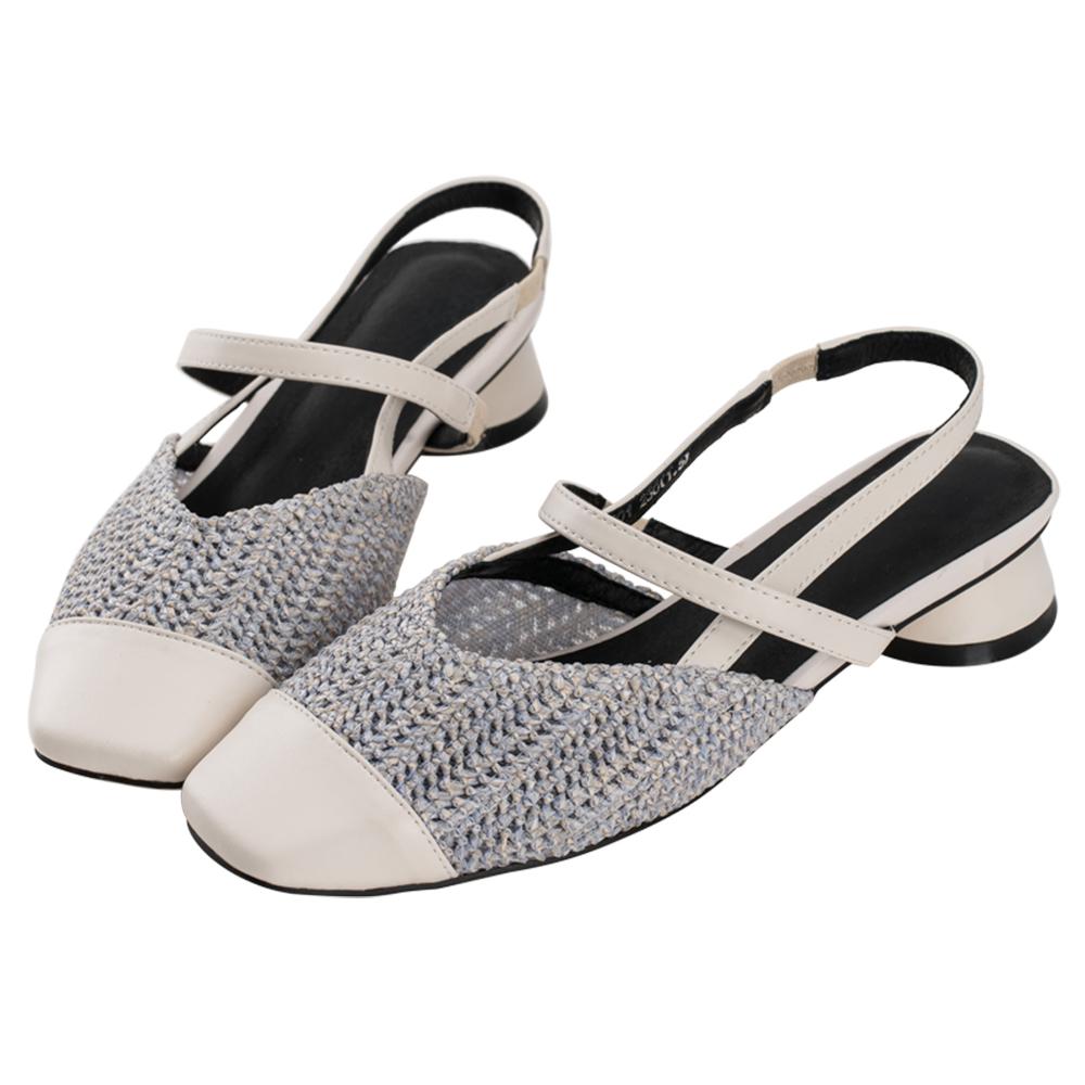 Robinlo 清新女孩編織面方頭低跟涼鞋 藍