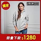 JEEP 簡約舒適立體圖騰連帽TEE-男女適穿 -灰色