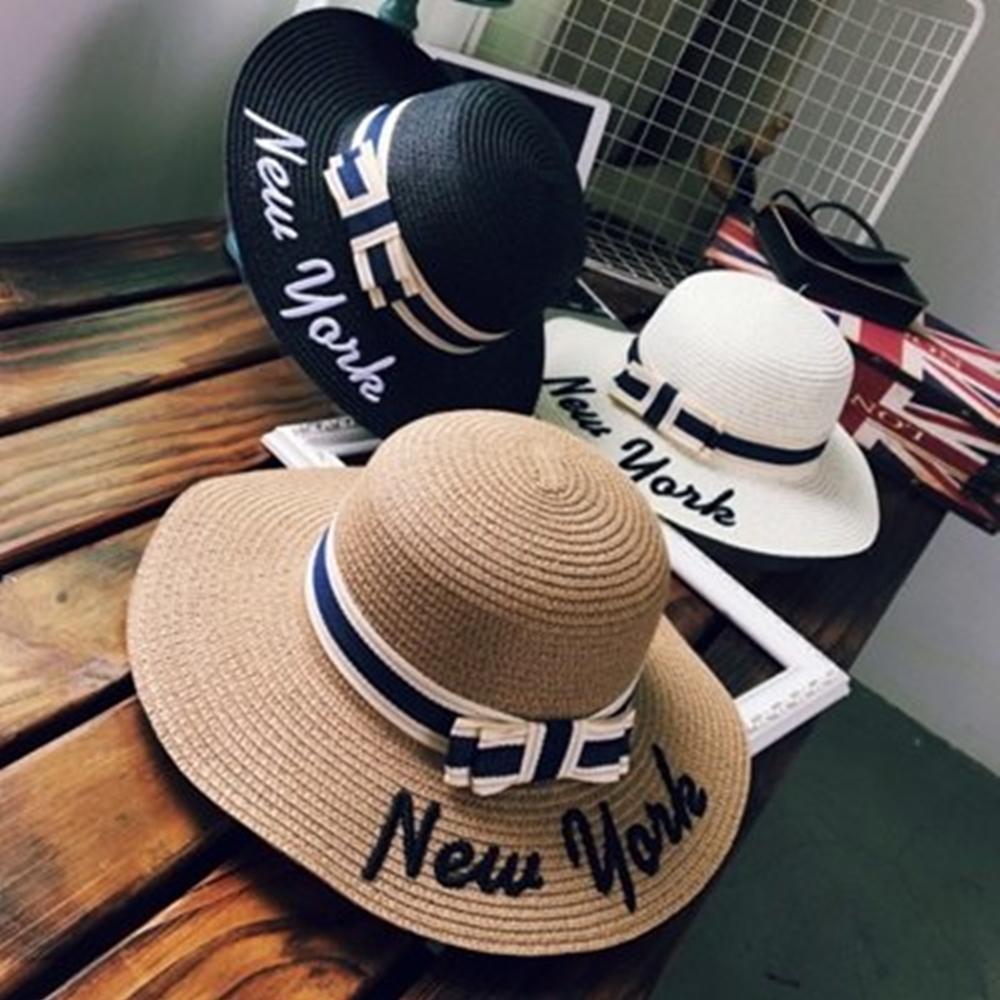 米蘭精品 草帽防曬遮陽帽-蝴蝶結NEW YORK字母戶外出遊沙灘女帽子73eq16