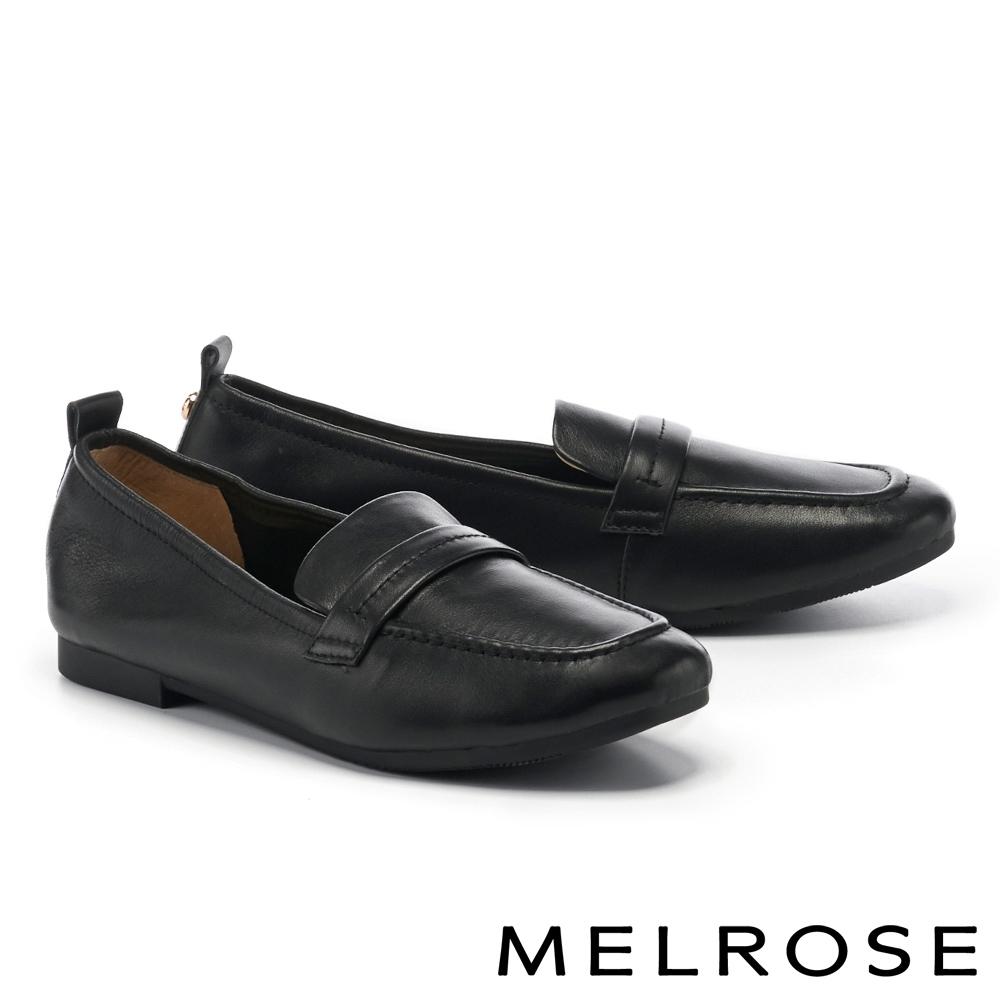 低跟鞋 MELROSE 經典復刻純色全真皮樂福低跟鞋-黑