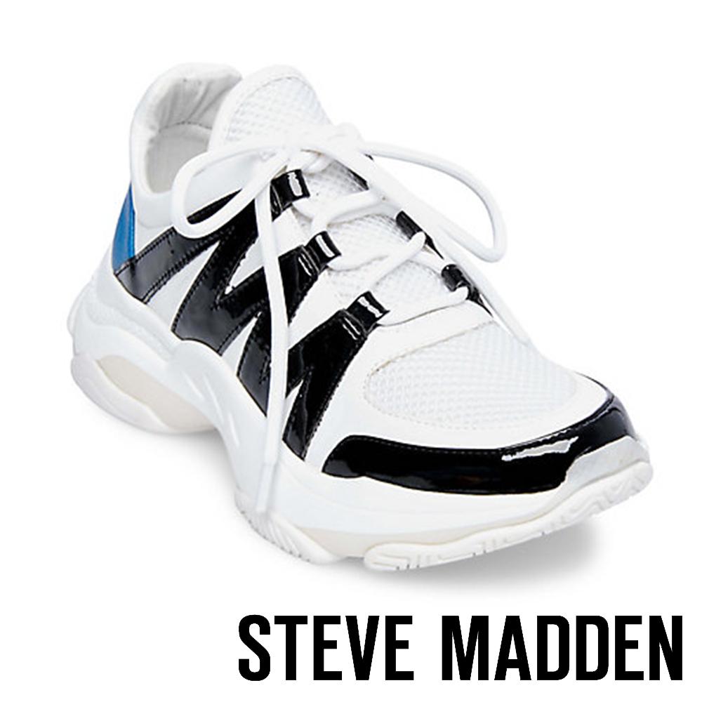 STEVE MADDEN-MAXIMUS潮流閃電綁帶厚底鞋-白色