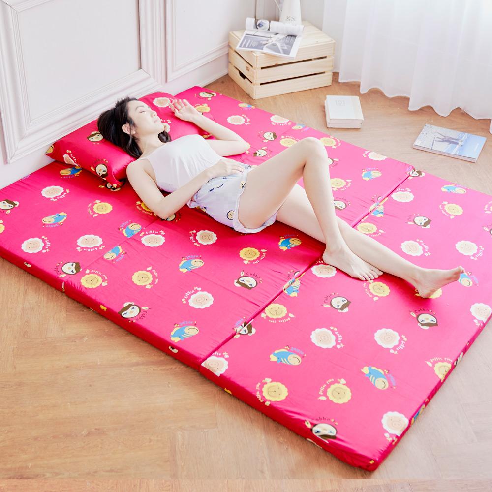 奶油獅 同樂會-高支撐臻愛三折記憶聚合床墊+100%純棉布套-單人3尺(苺果紅)