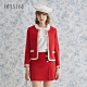 JESSICA - 紅色經典優雅鑲邊小香風花呢圓領羊毛外套 product thumbnail 1
