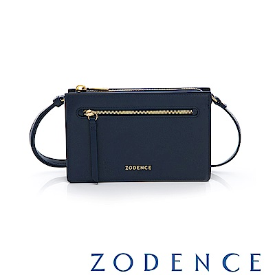 ZODENCE ERATO系列 進口彩色牛皮拉鍊皮夾包(小)藍