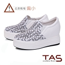TAS異材質拼接水鑽內增高厚底休閒鞋-閃耀白