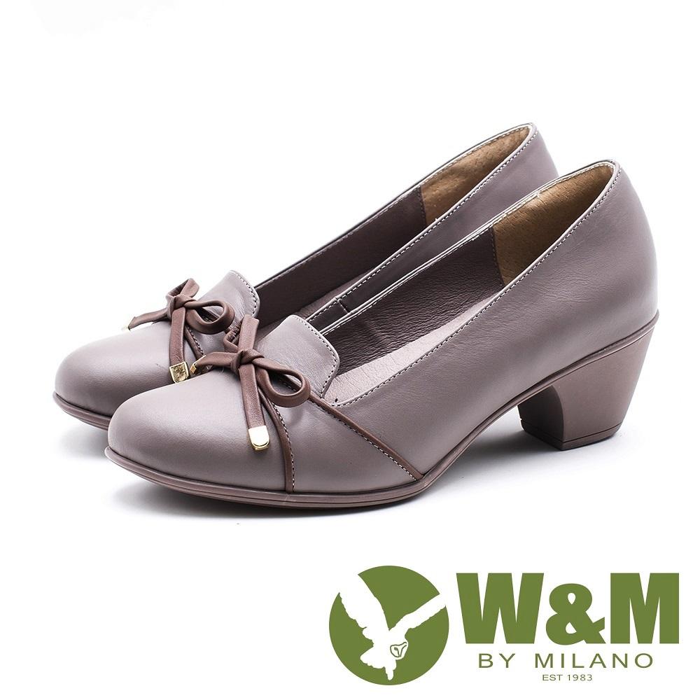 W&M 圓頭蝴蝶結粗跟跟鞋 女鞋 - 藕 (另有黑)
