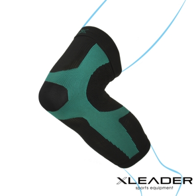 LEADER 進化版X型運動壓縮護膝腿套 湖綠色 1只入 XL- 急