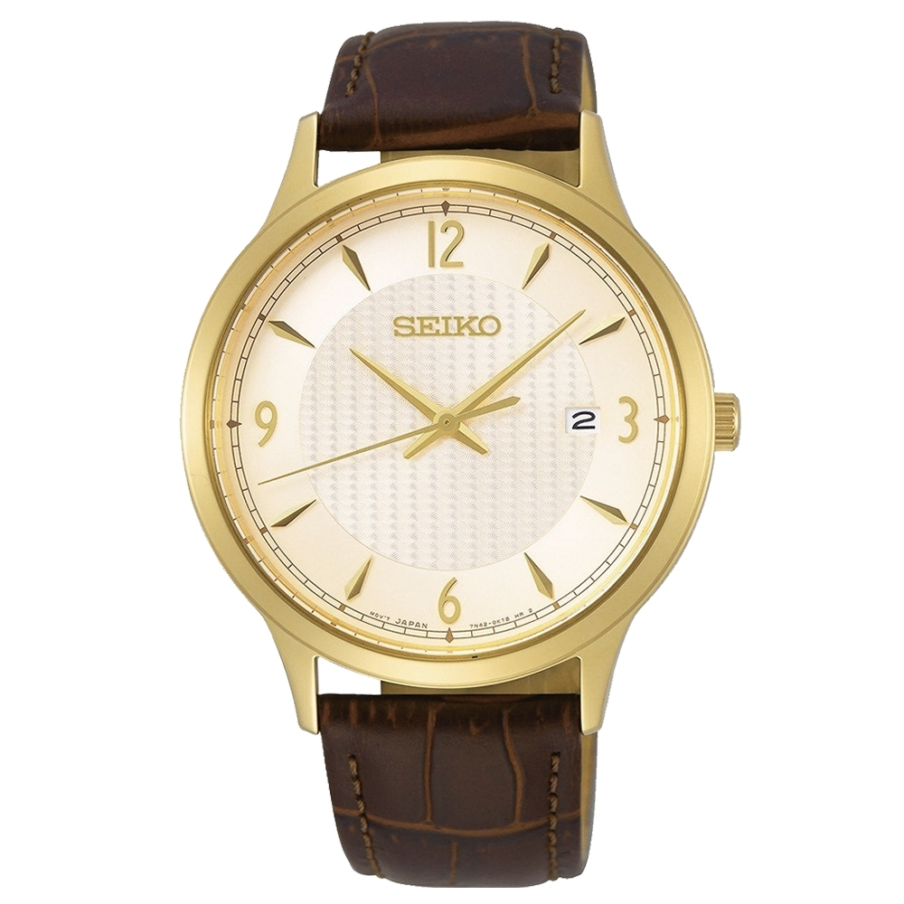 SEIKO精工   成就金采皮革石英腕錶(SGEH86P1)-金面x41mm