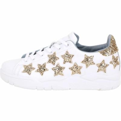 Chiara Ferragni Roger 金色星型亮片綁帶運動鞋(白色)