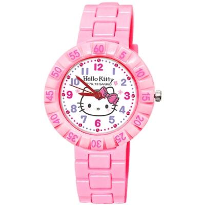Sanrio三麗鷗 數字轉圈系列手錶 Hello Kitty臉紅凱蒂貓34mm粉紅色