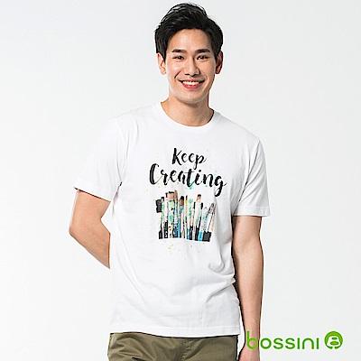 bossini男裝-印花短袖T恤39白