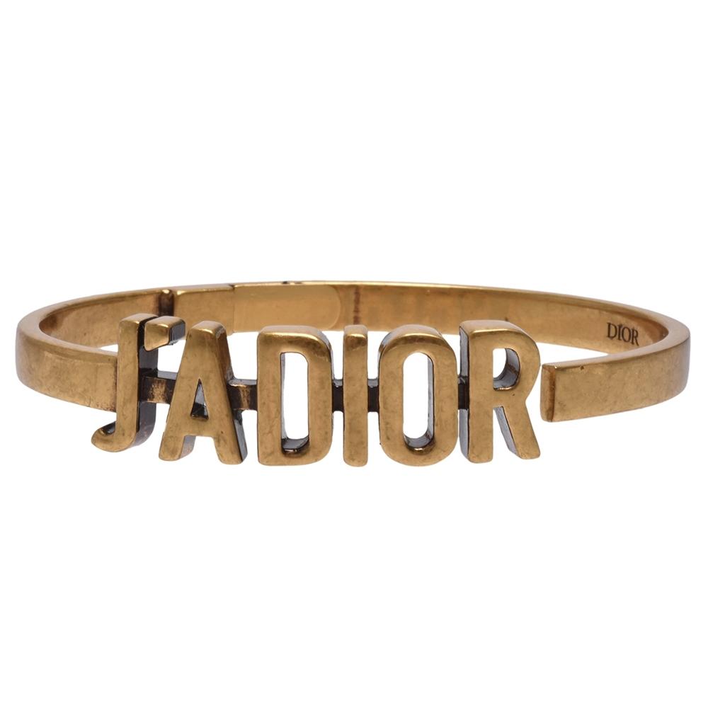 DIOR 經典J'ADIOR LOGO鍍金復古金屬手環(金)