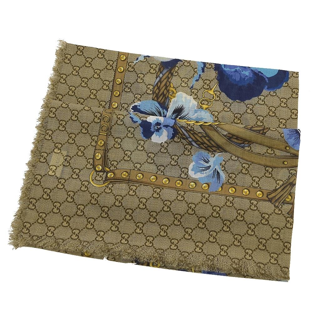 GUCCI 經典GG LOGO花朵圖案羊毛大方巾(藍)