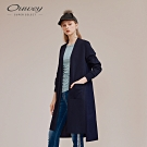 OUWEY歐薇 異材質拼接長版針織衫(藍)