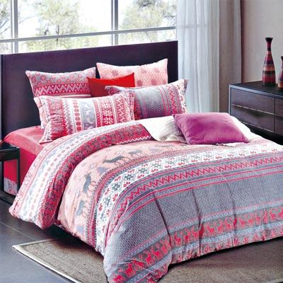 羽織美 歡樂耶誕 雕花水晶絨加大鋪棉床包被套組
