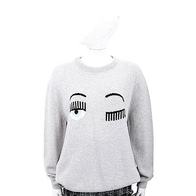 Chiara Ferragni Flirting 寬鬆版 灰色眨眼圖騰美麗諾羊毛衫