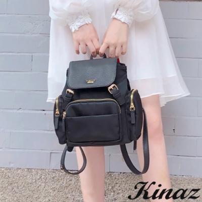 KINAZ casual 皮革掀蓋輕量防潑水手提後背包-小精靈系列