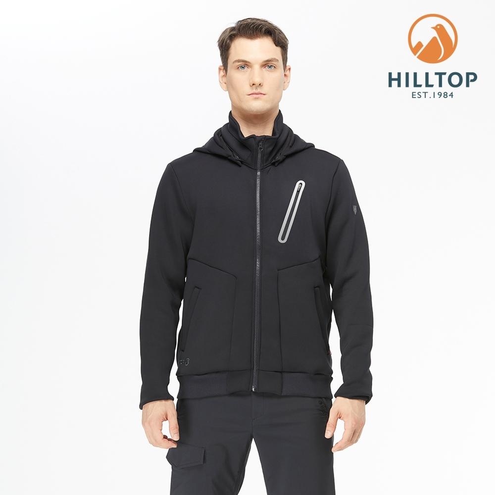 【hilltop山頂鳥】男款POLYGIENE抗菌保暖連帽刷毛夾克H24MK3黑美人