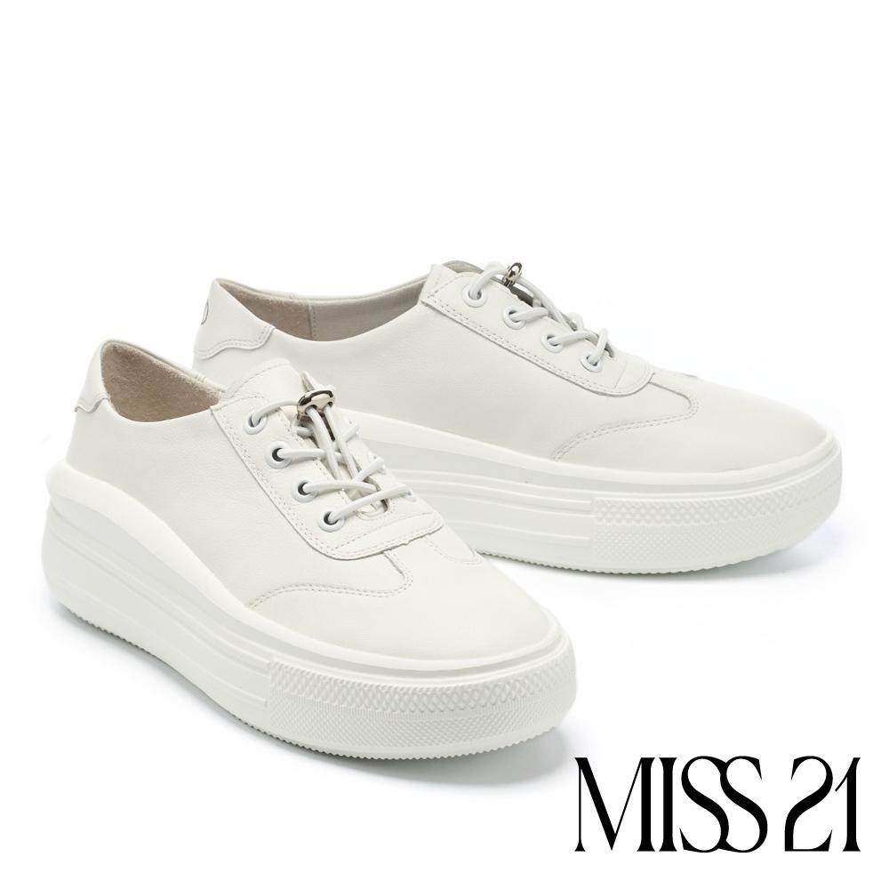 休閒鞋 MISS 21 極簡舒適純色全真皮綁帶厚底休閒鞋-白
