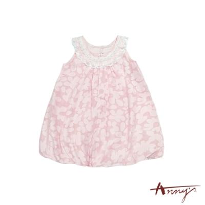 Annys安妮公主-小花花小珠珠-蕾絲珍珠小花花苞削肩背心洋裝*8121粉紅