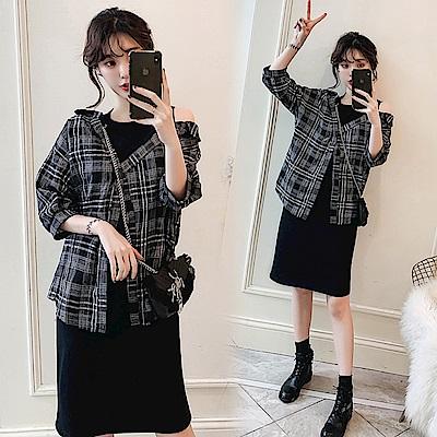 中大尺碼假兩件露肩格紋棉麻襯衫拼接黑色背心裙XL~4L-Ballet Dolly