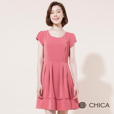 CHICA 美好年代下擺鏤空短袖洋裝(2色)
