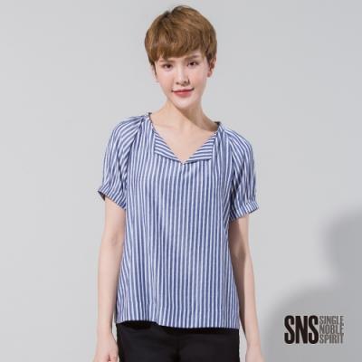 SNS 清新條紋翻領短袖上衣(2色)