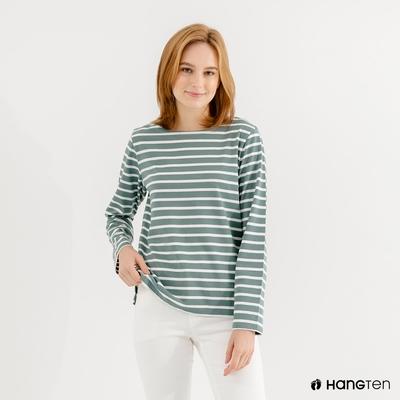 Hang Ten-女裝-ECO環保纖維配條長袖上衣-綠條紋
