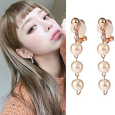 梨花HaNA 無耳洞韓國珍珠一字串飾耳環夾式