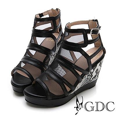 GDC-性感辣妹牛皮網紗拼接時尚高端楔型涼鞋-黑色
