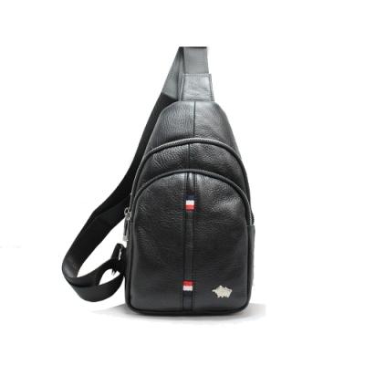 DRAKA達卡 - 路易XIV系列- 牛皮單肩斜背胸包-荔紋黑