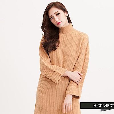 H:CONNECT 韓國品牌 女裝 - 中高領純色針織洋裝-棕 (快)