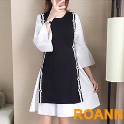 休閒風拼接小花朵兩件式裙套裝 (黑色)-ROANN