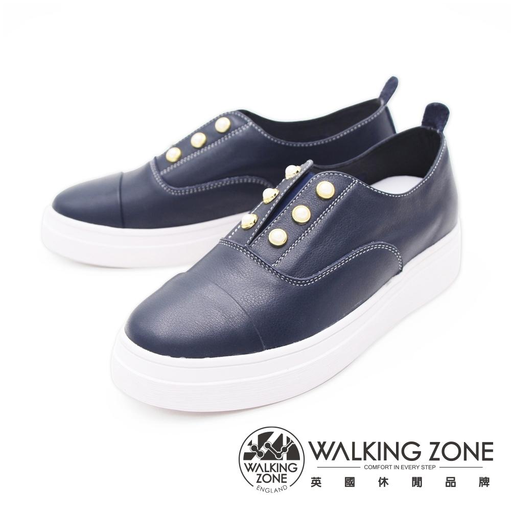WALKING ZONE(女) 珍珠彈力帶休閒鞋女鞋-藍(另有白)