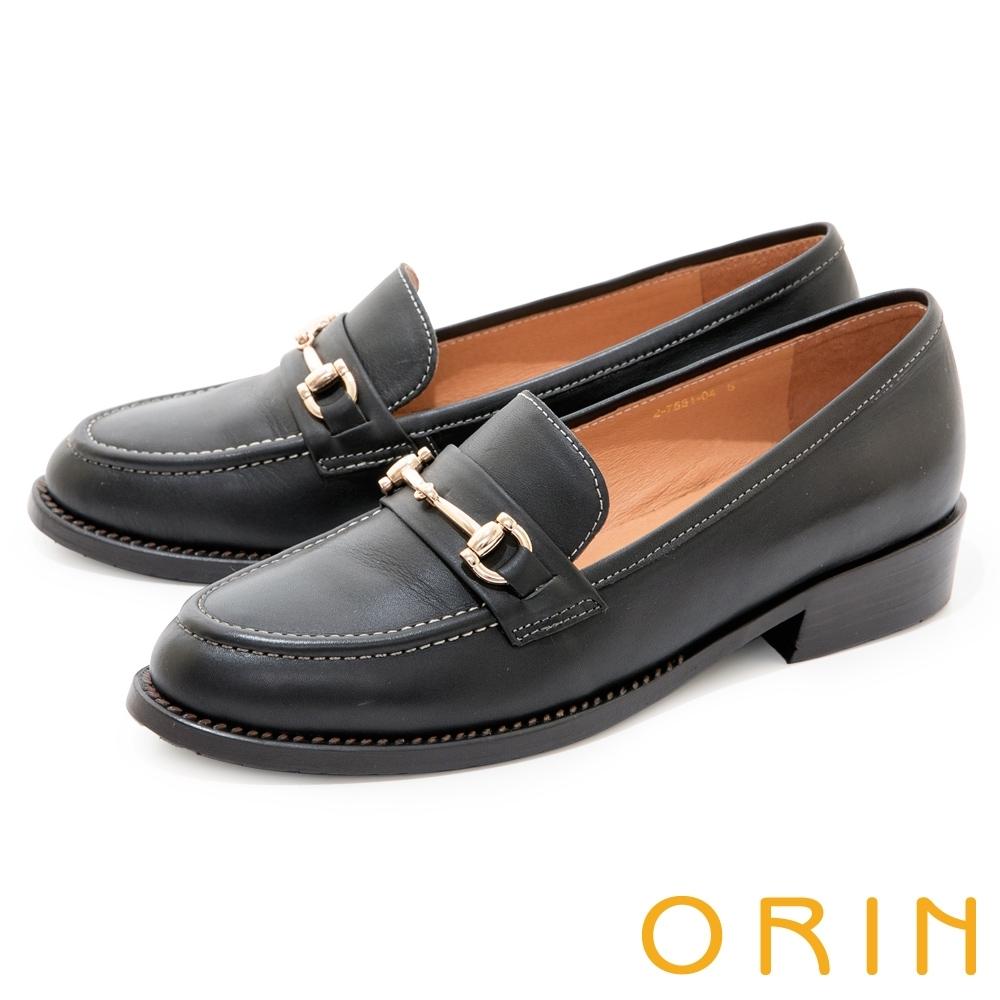 ORIN 質感真皮馬銜釦樂福 女 低跟鞋 黑色