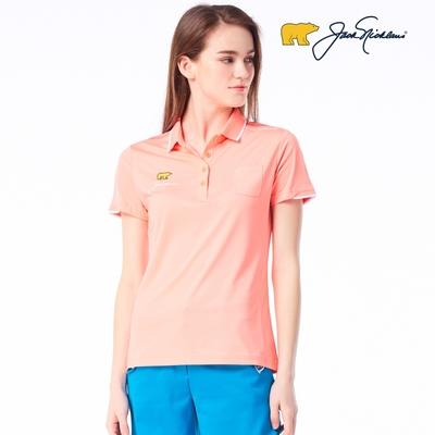 【Jack Nicklaus】金熊GOLF女款左胸小口袋彈性吸濕排汗POLO衫-橘色