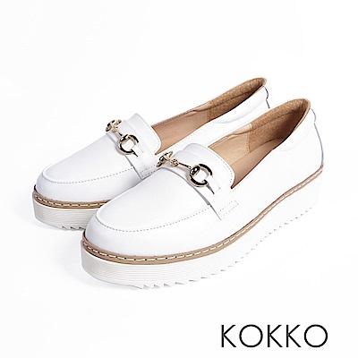 KOKKO -舒適體驗鎖鍊厚底真皮休閒鞋 - 極簡白