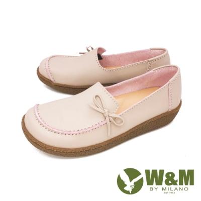 W&M(女)大方頭樂福鞋 莫卡辛鞋 休閒女鞋-粉(另有藍)