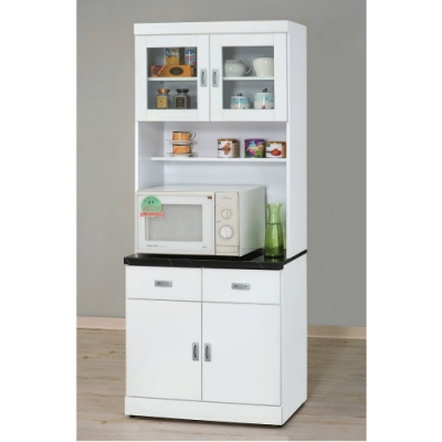 MUNA 純白2.7尺石面餐櫃/碗碟櫃(全組) 81X42.7X202cm