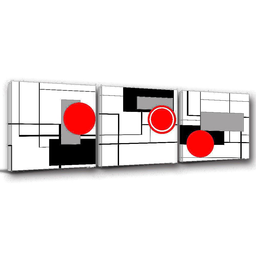 123點點貼 三聯式時尚無框畫壁貼-柔與剛30x30cm