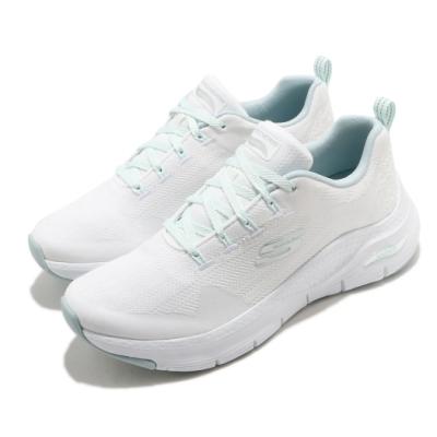 Skechers 休閒鞋 Arch Fit Comfy Wave 女鞋 專利鞋墊 足部舒壓平衡 回彈 避震 白 綠 149414WMNT