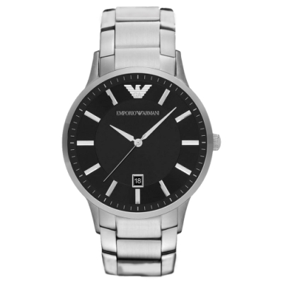 EMPORIO ARMANI 時尚典範紳士日期腕錶-銀X黑(AR11181)43mm